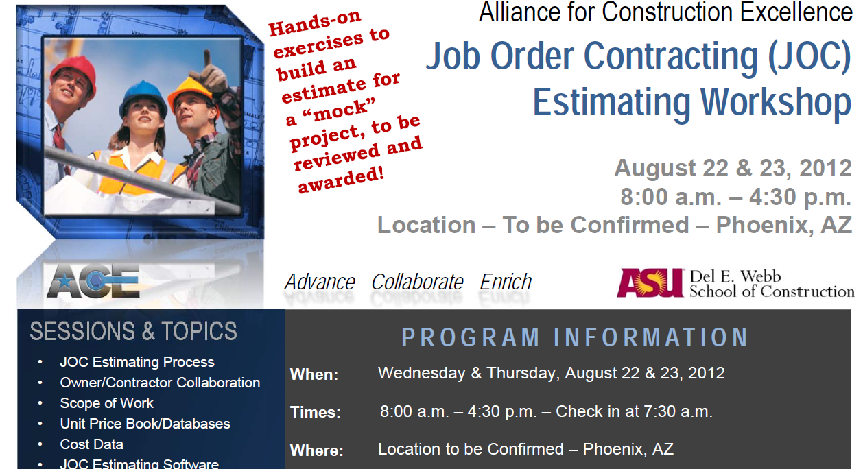 Cost Estimating for Job Order Contracting Class – LEAN